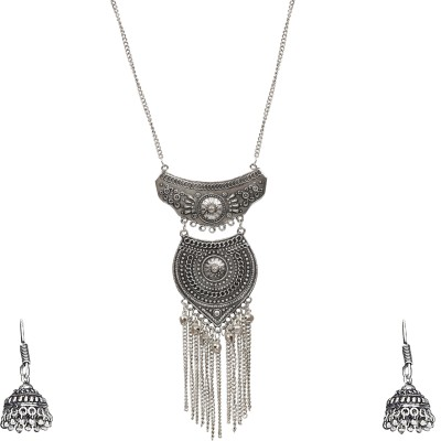 8a4bf9fe2cb6a9 78% OFF on NAWAB long afgani boho art silver oxidised necklace set- Necklace  and Earrings Alloy Necklace Set on Flipkart | PaisaWapas.com