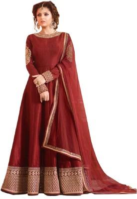 Mert India Anarkali Gown(Brown) at flipkart