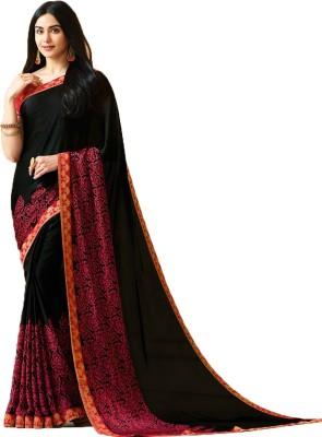 HashTag Fashion Floral Print, Printed, Digital Prints, Polka Print, Geometric Print, Self Design, Plain, Hand Painted, Graphic Print Bollywood Georgette Saree(Black)