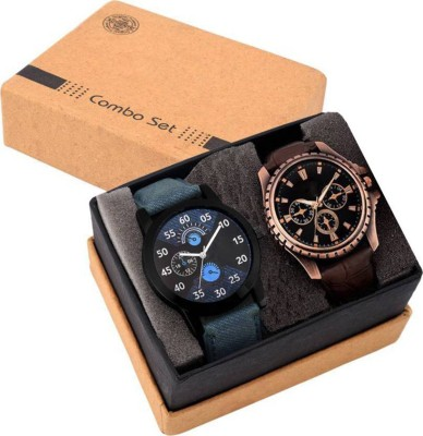 74 Off On Keepkart Brown And Blue Designer Watches Combo For Couple