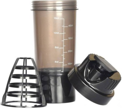 Tranduious Crossfit Shake It Gym Shaker For Protein/Multi Purpose 500 ml Bottle, Shaker, Sipper, Bottle Cage(Pack of 1, Black)  available at flipkart for Rs.234