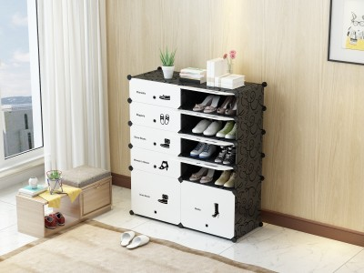 House of Quirk Shoe Cabinet Storage Organizer Plastic Free Standing Sideboard(Finish Color - Black)