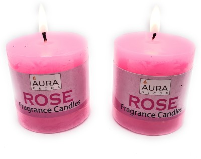 AuraDecor Rose Fragrance Pack of 2 Pillar Candle(Pink, Pack of 2)
