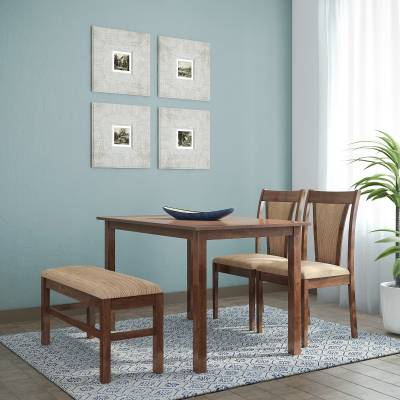 @home by Nilkamal Jewel Solid Wood 4 Seater Dining Set  (Finish Color - Walnut)