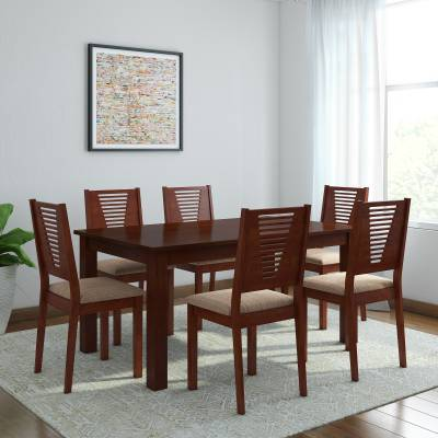Woodness Vivian Solid Wood 6 Seater Dining Set  (Finish Color - Mahogany)