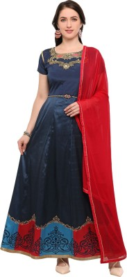 Saara Art Silk Solid, Printed Semi-stitched Salwar Suit Dupatta Material