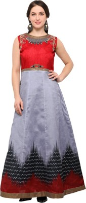 Saara Art Silk Printed Semi-stitched Salwar Suit Dupatta Material