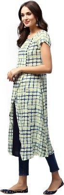 Style N Shades Women Checkered Straight Kurta(Blue)