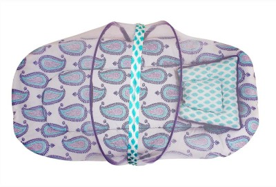 Bacati Cotton Infants Paisley Purple Lilac Aqua Mattress With Net Small Mosquito Net(Multicolor)