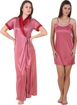 Ansh Fashion Wear Women Nighty with Robe(Pink, Pink)