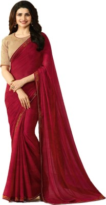 Bombey Velvat Fab Hand Painted, Plain, Geometric Print, Floral Print, Solid, Applique, Paisley, Checkered, Striped, Printed Daily Wear Georgette, Chiffon Saree(Maroon)