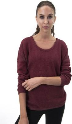 Satva Solid Round Neck Casual Women Maroon Sweater