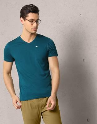 Metronaut Solid Men's V-neck Green T-Shirt