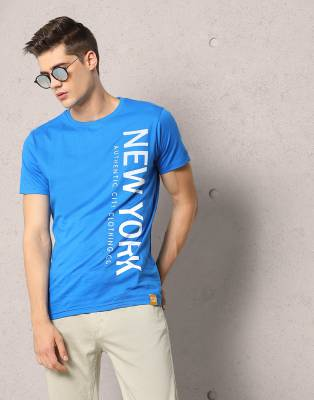 Metronaut Printed Men's Round Neck Blue T-Shirt