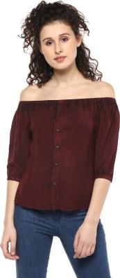 MAYRA Casual 3/4 Sleeve Solid Women Maroon Top