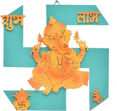 Maa Gayatri Design Multicolor Wooden Wall Hanging Swastika Shape Lord Ganesh Ji(Blue)
