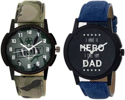 Rage Enterprise New Stylish Blue Green Leather Strap Combo For Men Watch  - For Boys