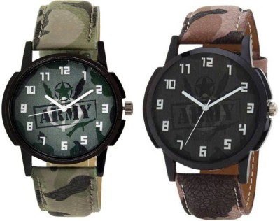 Rage Enterprise New Designer Army Leather Strap Funky Dial Men Watch  - For Boys