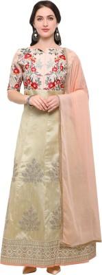 Saara Art Silk Self Design, Embroidered Salwar Suit Material(Semi Stitched) at flipkart