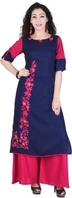Neel Fab Women Embroidered Straight Kurta(Blue)