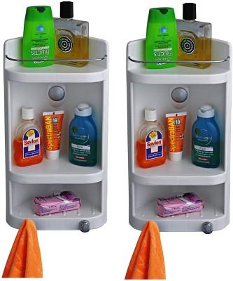 Bedi Royal Cipla Plast Caddy Small Corner Cabinet(Set of 2) Plastic Wall Shelf(Number of Shelves - 2, Multicolor, White)
