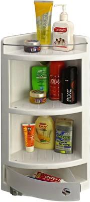 Cipla Plast Crystal Corner Cabinet Plastic Wall Shelf(Number of Shelves - 4, White)