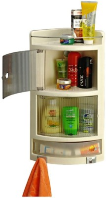 Bedi Royal Cipla Plast Crystal Corner Cabinet Plastic Wall Shelf Plastic Wall Shelf(Number of Shelves - 4, Multicolor, White)