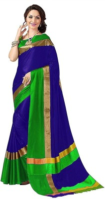 Bhuwal Fashion Solid Fashion Silk Cotton Blend Saree(Dark Blue, Gold, Green)