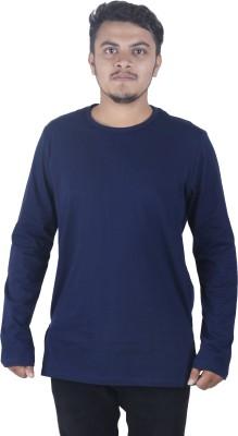 Dfine Solid Men Round Neck Blue T-Shirt Flipkart