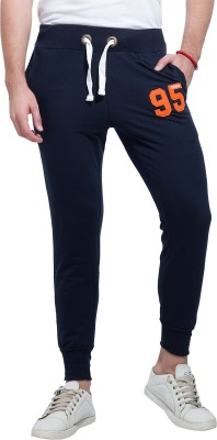 Alan Jones Applique, Solid Men Dark Blue Track Pants