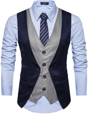 Personality plus Solid Men Waistcoat