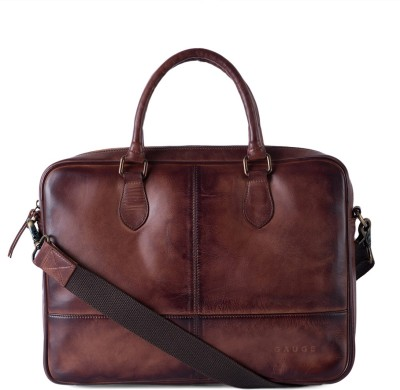 6537223ca8a Buy Gauge Machine Hand Padded Leather Laptop Bag Medium Briefcase - For Men    Women(Brown) on Flipkart
