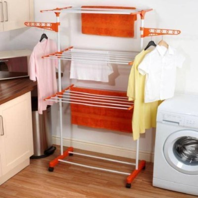 Sukot Folding 3 Layer Cloths Drying Rack Clothes Stand Stainless Steel, Plastic Floor Cloth Dryer Stand(Multicolor)