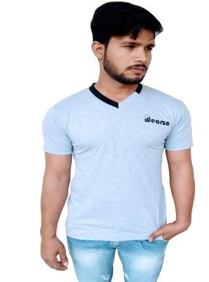 Wearza Self Design Men's V-neck Grey T-Shirt