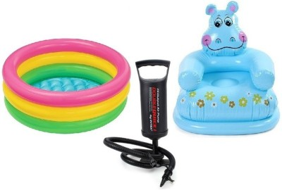 Flying Toyszer Baby Pool 2Ft, Happy Hippo Kiddie chair with Air Pump Inflatable Pool Accessory(Multicolor)