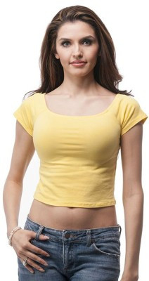Fashion Line Casual Short Sleeve Solid Women Yellow Top