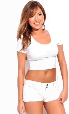 Fashion Line Solid Women Round Neck White T Shirt