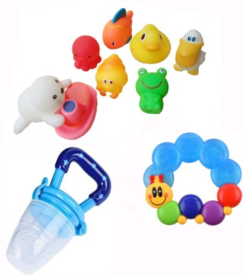 PRESENTSALE Toys For Baby Chu Chu Toys With Ring Rattel Cum Teether And Fruit Vegetables Food Nibbler Bath Toy(Multicolor)