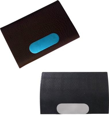 Printmystic.com 10 Card Holder(Set of 2, Brown, Black)