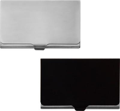 Printmystic.com 10 Card Holder(Set of 2, Black, Silver)