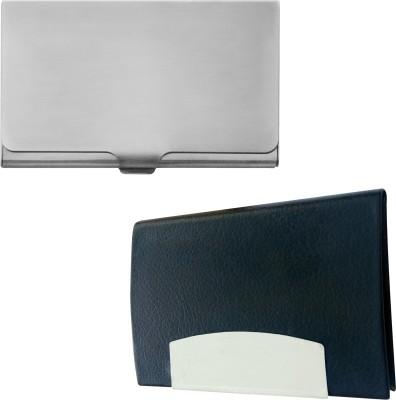 Printmystic.com 10 Card Holder(Set of 2, Silver, Black)
