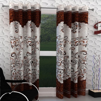 Saanvi Creations 213 cm (7 ft) Polyester Door Curtain (Pack Of 2)(Floral, Printed, Brown)