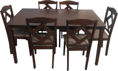 Furn Central Amber Solid Wood 6 Seater Dining Set(Finish Color - Espresso)