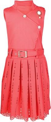 Arshia Fashions Girls Midi/Knee Length Party Dress Pink, Sleeveless Arshia Fashions Kids' Dresses