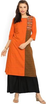 Aurelia Women Striped Straight Kurta(Orange)