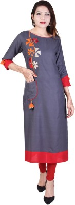 Neel Fab Casual Solid, Embroidered Women Kurti(Grey)