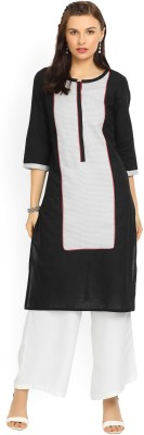Aurelia Women Self Design Straight Kurta(Black)