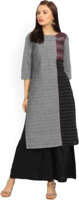 Aurelia Women Striped, Colorblock Straight Kurta(Black, Grey)