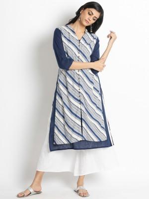 Rangmanch by Pantaloons Women Printed, Striped A-line Kurta(Multicolor)