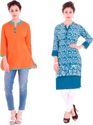 Stylum Casual Printed Women Kurti(Pack of 2, Blue, White)